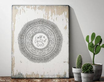 I am a Child of God, Aztec Coloring Sheet, hand drawn and hand written, Home decor, 8x10 Instant Download by Little Miss Missy