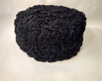 Vintage Lamb Wool Hat Pillbox Style Black Curly