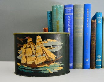 Vintage Metal Desk Organizer - Ship Desk Caddy Storage Painted Office Supply Holder Nautical
