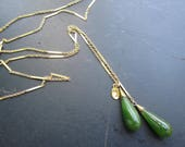 Reserved for Fanny - payment #2 - Lariat with Antique Jade, Lariat Necklace, Two Girls Gems