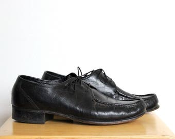 Black Leather Florsheim Mens Shoes size 10 D Lace Up Oxfords Union Vintage Made In USA