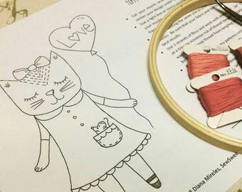 Kitty Valentines Day Hand Embroidery Pattern
