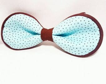 Brown and LT Blue  Polka Dot  Bow Tie