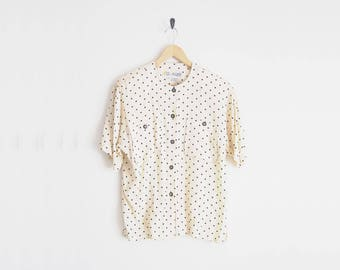 80s Blouse. Short Sleeves Dotted Cream Blouse. Pocket Top with Polka Dots. Boxy Oversized Shirt. Button Down Shirt. Saved By The Bell.