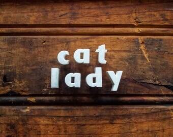 Cat Lady - Vintage Ceramic Push Pins