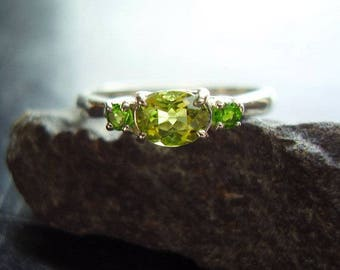 Little Ivy - Genuine Peridot Faceted Oval & Genuine Chrome Diopside Engagement Solid 925 Sterling Silver Ring August Birthstone Wedding Ring