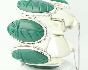 Mexican Carved Green Chalcedony Panel Bracelet - Sterling Silver N9842