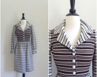 SALE Vintage retro brown and white striped collared mini dress / mod long sleeved dress