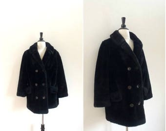 Summer Sale Vintage retro black faux fur coat / rocker glam faux fur double breasted jacket / vintage outerwear