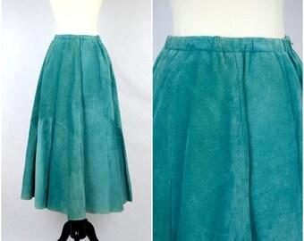 Summer Sale Vintage southwestern teal suede leather skirt / Lanna soft genuine skirt