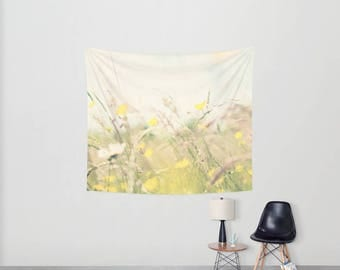 wild flowers photograph wild flower tapestry buttercup tapestry buttercup photograph nature wall tapestry boho wall art home decor