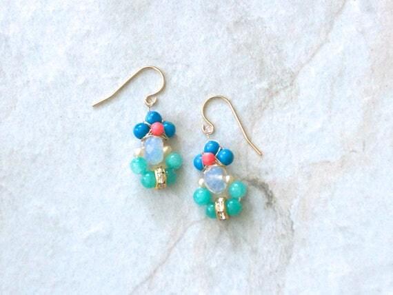 Coral & gemstone cluster dangle earrings
