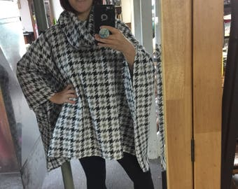 Houndstooth Cowl Neck Cape
