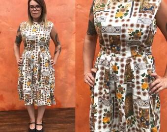 Vintage 1950s 1960s Cotton Floral Novelty print dress rockabilly swing pinup M/L