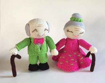 Old Man and Old Lady Amigurumi - Wedding Amigurumi - made to order - Birthday Gift