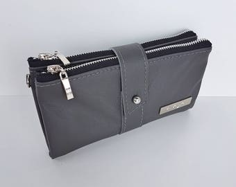 Leather Double Clutch Wallet Purse Handbag,  Charcoal Grey