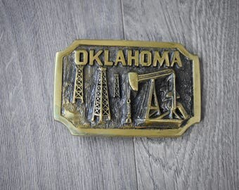 1980s Oklahoma Belt Buckle Heritage Mint Registered Collection Solid Brass NE 0505 With Paperwork