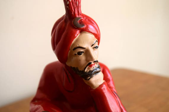 Vintage Handpainted Small Genie / Aladin Statue Figurine / Mid Century - What are your three wishes?