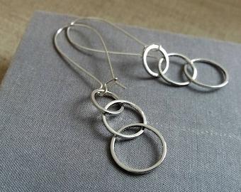Silver Three Circles Earrings. 3 Circles Earrings. Long Earrings. Geometric Earrings. Geo Jewellery. Minimalist Earrings