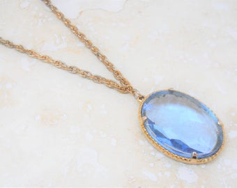 Vintage Faceted Blue Glass Necklace