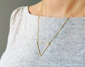Silver or Gold geometric triangle necklace