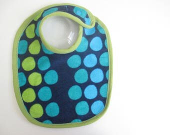 EcoBib--Adjustable Snap Closure--Modern Dots on Navy--Ready to Ship