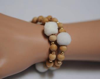 Stretch Bracelet, Tan wooden bracelet with white Pom Pom, Gift for her, White pom pom, Everyday use, Summer bracelet. Latest Fashion
