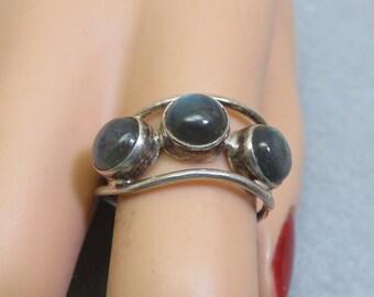 1970s Sterling Labradorite Free Form Ring, Size 8.75