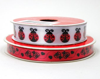 Red and Black Ladybug Ribbon, White Ribbon with Red Lady Bugs, Ladybird Beetle Ribbon, 3/8 inch Ribbon, 5/8 inch Ribbon, 3 yards per roll