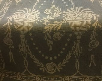 Antique French Filet net and darned embroidered bedspread