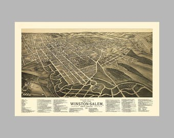 Winston Salem South Carolina - Panoramic Map - Birds Eye View - Print - Poster