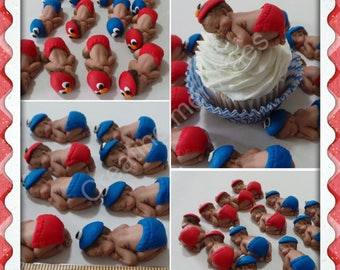 MINI Baby Cupcake or cake decorations,  made of vanilla fondant. the perfect baby shower cupcake topper, you pick the diaper color