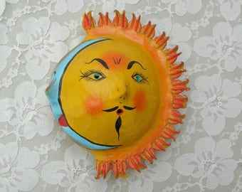 SUMMER SALE Old Mexican Sun and Moon Coconut Wall Mask, Solar Eclipse, hand-painted folk art, purchased in Mexico, perhaps in the 1960s