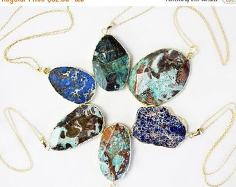 Massive Jasper Slab Necklace / 24K Gold Electroplated Jasper Pendant / Gold Filled Chain / Bohemian Chic / Boho Fashion / Turquoise Color