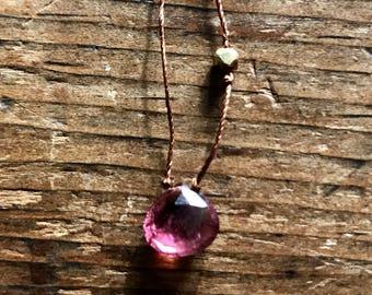 Pink Tourmaline drop Necklace