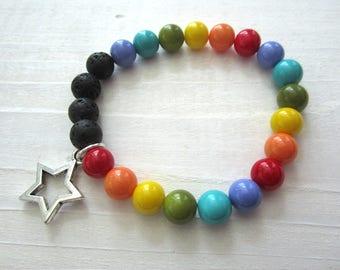 Stretchy Bracelet Rainbow Beads and Lava Beads, diffuser bracelet, star pendant charm