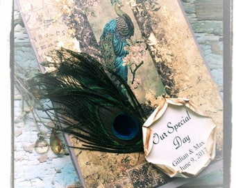 SALE WAS 119.00 NOW 89.00 Peacock wedding Guest book high end