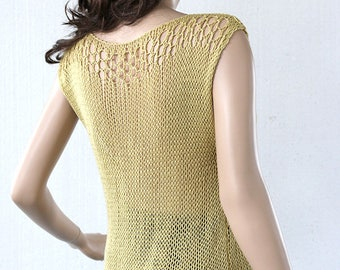 Loose knit Bamboo Yarn Summer Tank in Pistachio Green