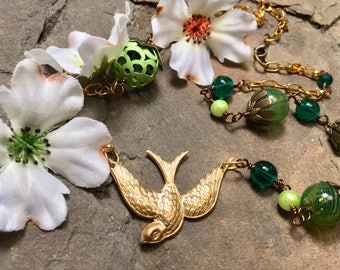 Gorgeous swallow bird brass pendant necklace