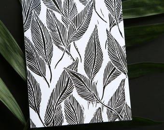 Original Black & White Linocut Leaves Note Card