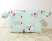 Fabric Storage Basket - Diaper Caddy - Mint Unicorn Print  - Toy Storage