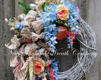 ON SALE Floral Wreath, Summer Cottage Wreath, Designer Floral Wreath, Victorian Garden Wreath, Country French Wreath, Elegant Floral Wreath