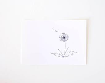 Simple Dandelion Drawing - Black and White Art Print - Limited Edition - My First Wish