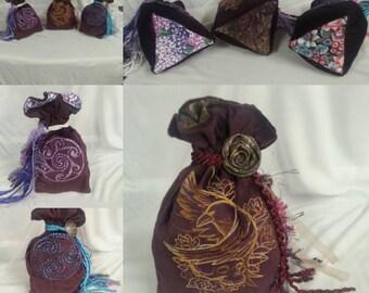 Large Tarot Bag - Ravens, Lilacs and Posies