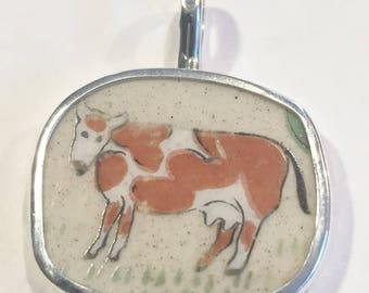 Broken China Pendant,Cow Sterling Silver, Handmade, OOAK, Recycled