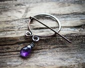 Iron Age Penannular Brooch with Amethyst Drop. Knitting Clasp. Hand Knit Closure.