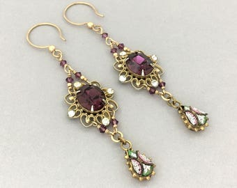 Vintage Upcycled Rhinestone Earrings - Purple Rhinestone Dangle Earrings - Unique Long Dangle Earrings - Womens Pierced Earrings Gift