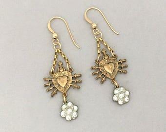 Mixed Metal Dangle Earrings Gift for Her - Rhinestone Earrings - Religious Sacred Heart Earrings - Everyday Earrings - Lightweight Earrings
