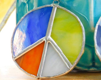 Patchwork Peace Sign Stained Glass Suncatcher Hippie Boho Bohemian Style Decor Lead Free Orange Yellow Blue