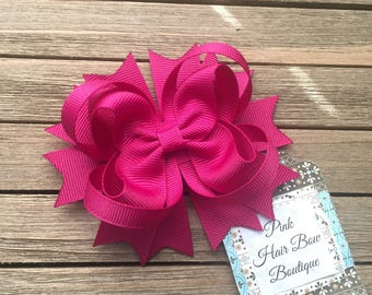 Azalea hair bow, fuchsia hair bow , multiple sizes , beautiful boutique hair bow , school hair bow , beautiful pink hair bow , azalea bow